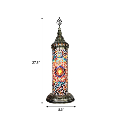 LED Tower Shaped Table Lighting Vintage Yellow/Blue/Green Stained Glass Nightstand Lamp for Bedroom