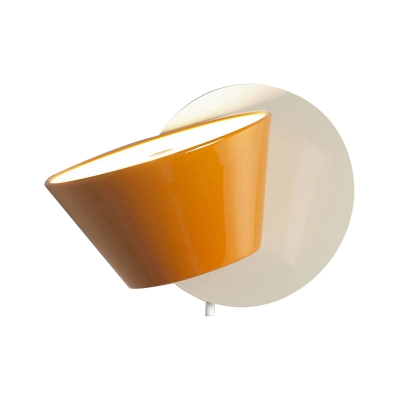 Orange Cone Wall Lighting Modernist 1 Head Metal Sconce Light Fixture with Rotating Node