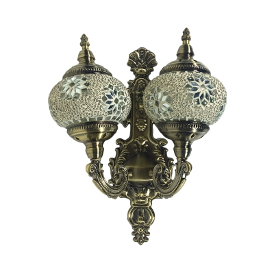 Traditional Oval Wall Sconce Light 2 Heads Stained Glass Wall Mounted Lamp Fixture in White/Yellow/Green for Corridor