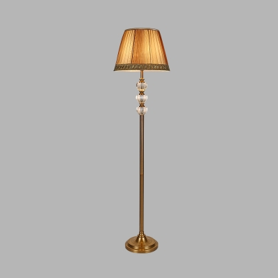 1 Head Drum Floor Lamp Minimalist Beige Fabric Standing Light with Beveled Crystal Accent
