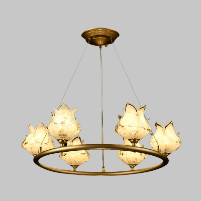 6 Lights Chandelier Pendant Light Traditional Wagon Wheel LED Metal Suspension Lamp with Clear Glass Shade