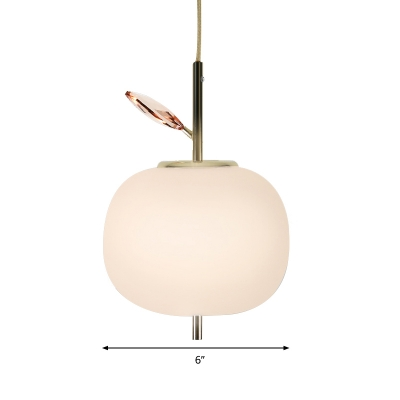 Apple Dining Room Hanging Lamp White Glass LED Contemporary Pendant Lighting Fixture