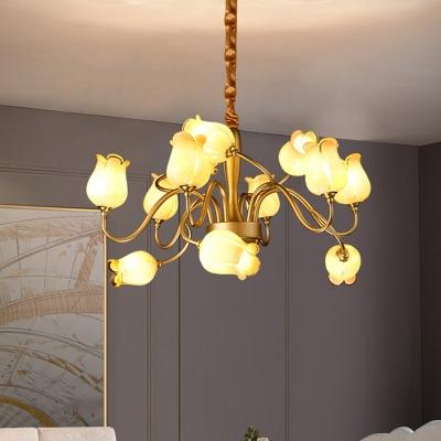 Gold 12 Heads Chandelier Lighting Traditionalism Frosted Glass Sputnik Pendant Ceiling Light for Living Room