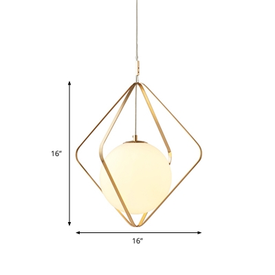 Square Pendant Lamp Simple Metal 1 Bulb Gold Hanging Light Fixture with White Glass Shade, 10.5