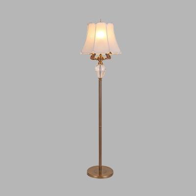 White 3 Bulbs Standing Light Antique K9 Crystal Paneled Bell Floor Lamp for Living Room