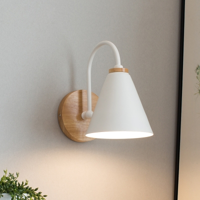 White Tapered Sconce Aisa 1 Head Metal Wall Mounted Light Fixture with Round Wood Backplate