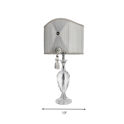 1 Head Vase Table Lamp Traditional Gray Beveled Crystal Prism Nightstand Light for Bedroom