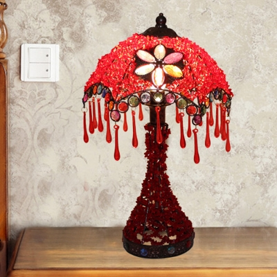 1 Light Scalloped Table Lamp Art Deco Red/Purple Metal Nightstand Lighting for Living Room