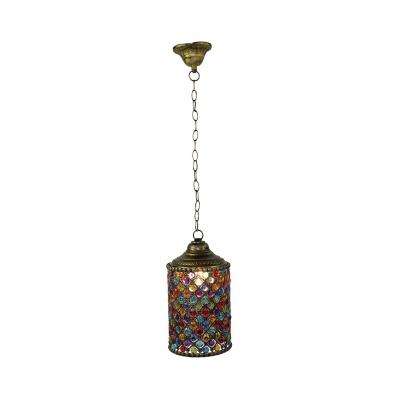 Brass Cylinder Suspension Lighting Traditional Metal 1 Head Living Room Pendant Light, 6