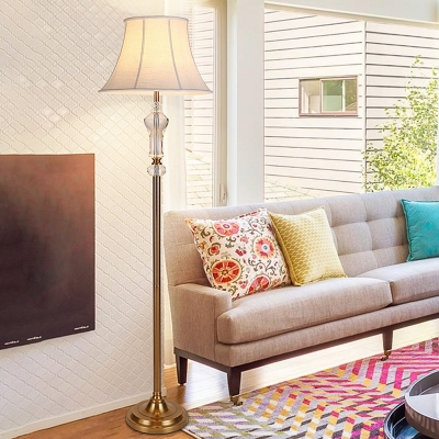 Classic Flared Floor Lamp Single Head Clear K9 Crystal Standing Light in White for Living Room