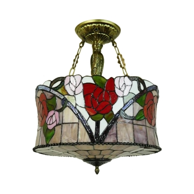 Drum Ceiling Flush Mount 5 Lights Cut Glass Mediterranean Semi Flush in Brass with Flower Pattern