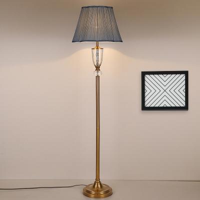 Empire Shade Living Room Floor Light Retro Translucent Crystal 1 Bulb Blue Standing Lamp