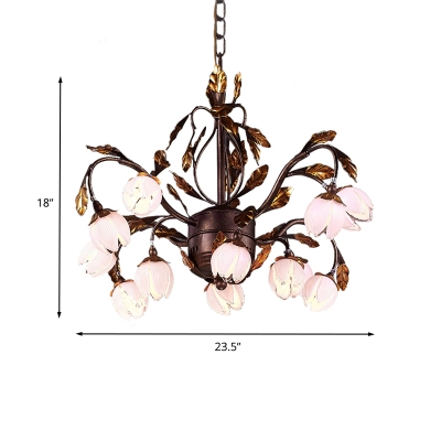 Floral Dining Room Ceiling Chandelier Traditional Purple Glass 12 Heads Brown Hanging Light Fixture
