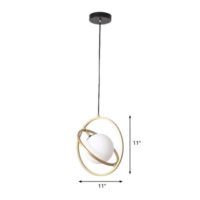 Gold Circular Pendant Lamp Minimalism 1 Head Metal Ceiling Hanging Light for Dining Room