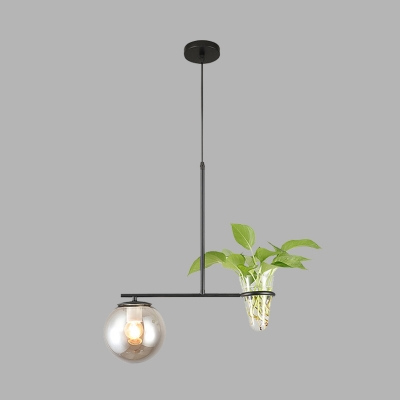 Plant Deco Dining Table Pendant Industrial Milk White/Smoke Grey Glass 1 Head Gold/Black Hanging Lamp Kit