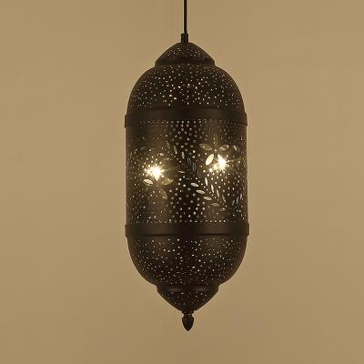 Decorative Cylinder Chandelier Lighting Metal 3 Bulbs Hanging Ceiling Light in Black