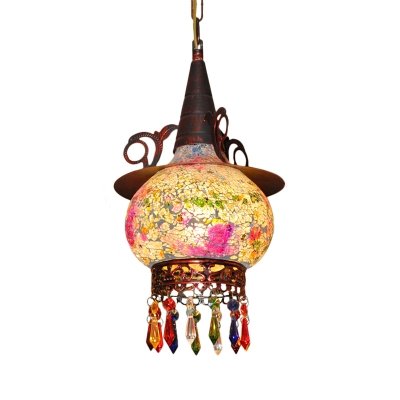 Hat Shaped Corridor Suspension Lighting Art Deco Stained Glass 1 Light White and Red/White and Yellow Pendant Lamp with Crystal Accent