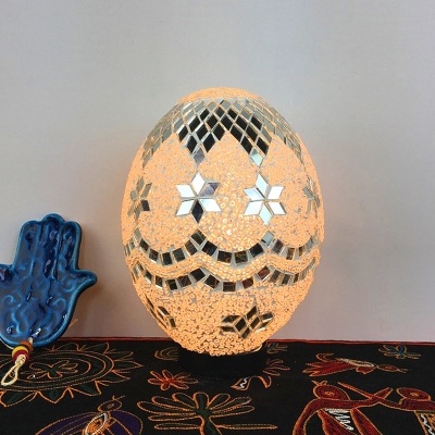 LED Table Lamp Vintage Coffee Shop Nightstand Light with Egg Shaped White/Red/Yellow Stained Glass Shade
