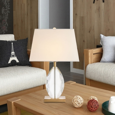 White 1 Light Table Lamp Minimalism Crystal Block Trapezoid Nightstand Light with Fabric Shade
