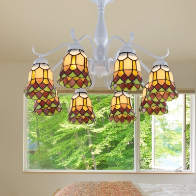 White 6/8 Lights Semi Flush Ceiling Light Mediterranean Stained Glass Bell Semi-Flush Mount