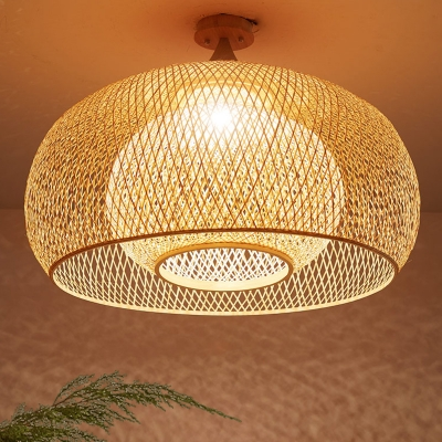 Wood Domed Semi Flush Mount Chinese 1 Head Bamboo Ceiling Light Fixture For Living Room Beautifulhalo Com