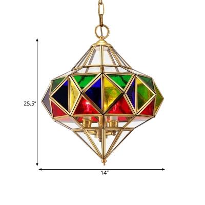 3 Lights Metal Chandelier Pendant Vintage Brass Diamond Corridor Hanging Ceiling Lamp
