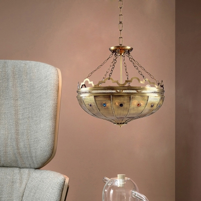 6 Heads Bowl Chandelier Lighting Antiqued Brass Metal Hanging Lamp with Chain for Bedroom