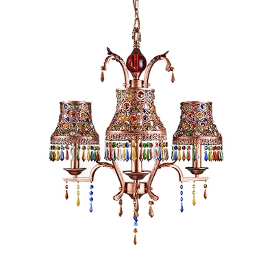 Brass Bell Chandelier Pendant Light Vintage Metal 3/5/8 Heads Restaurant Ceiling Suspension Lamp