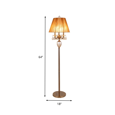 Empire Shade Living Room Floor Light Retro Fabric 3 Bulbs Beige Standing Lamp with Dangling Crystal