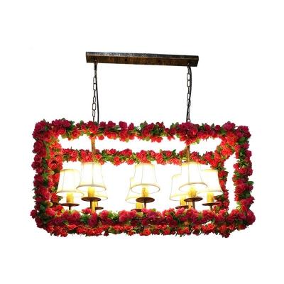 Red Rectangular Island Lighting Industrial Metal 8 Heads Restaurant LED Flower Ceiling Light with Empire Shade