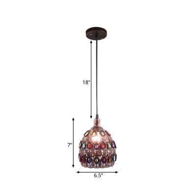 Rust 1 Light Suspension Lamp Traditional Metal Dome Pendant Light Fixture for Restaurant