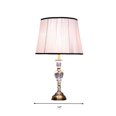 Vintage Pleated Shade Nightstand Lamp 1 Bulb Clear Crystal Glass Table Light in Light Purple