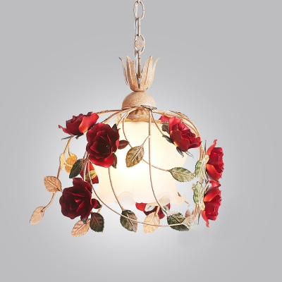 White Glass Rose Drop Pendant Pastoral 1 Head Dining Room Hanging Lamp Kit, 12.5