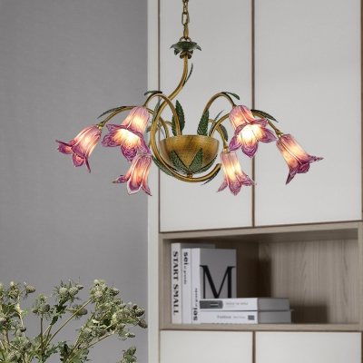 White/Purple Glass Blossom Chandelier Country Style 6 Heads Dining Room Pendant Light Fixture