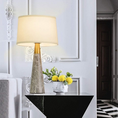 1 Bulb Barrel Table Lamp Modernist Fabric Reading Book Light in White with Marble Base