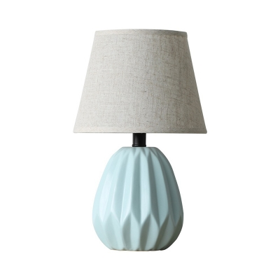 1 Head Flare Task Lighting Contemporary Fabric Small Desk Lamp in Blue for Study
