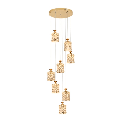 8 Bulbs Stair Cluster Pendant Contemporary Gold Ceiling Light with Circular Faceted Crystal Shade