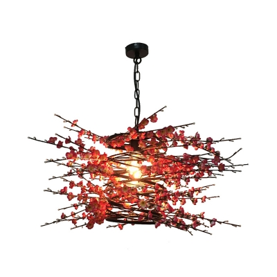 Black 1 Bulb Drop Pendant Industrial Metal Plum Blossom LED Hanging Ceiling Light for Restaurant