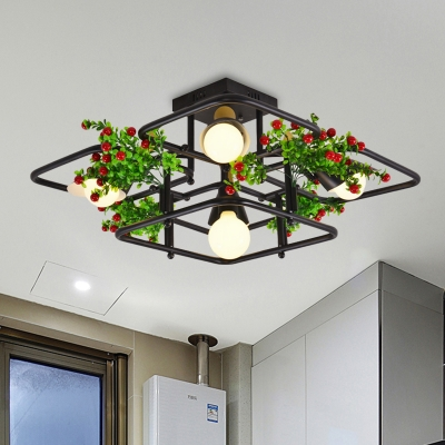 Black 5/8 Bulbs Ceiling Fixture Industrial Metal Square/Rectangle LED Plant Semi Flush Mount Light for Living Room