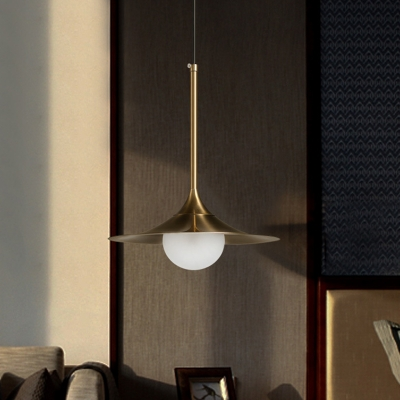 Brass Horn Shape Pendant Lighting Minimalist 1 Bulb Metal Ceiling Hang Fixture with Ball Opal Glass Shade