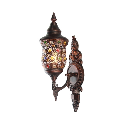 Bronze Armed Sconce Light Traditional Metal 1 Bulb Restaurant Wall Mounted Lighting