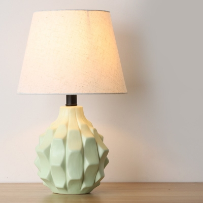 Contemporary 1 Bulb Table Lamp Green Tapered Reading Book Light with Fabric Shade