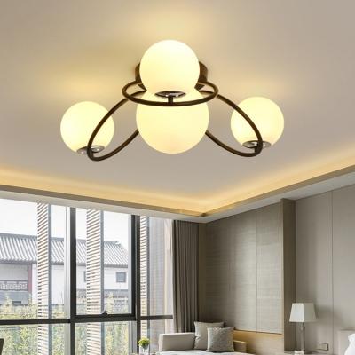 Cream Glass Ball Flushmount Contemporary 4 Heads White/Black Finish Flush Ceiling Light Fixture for Bedroom