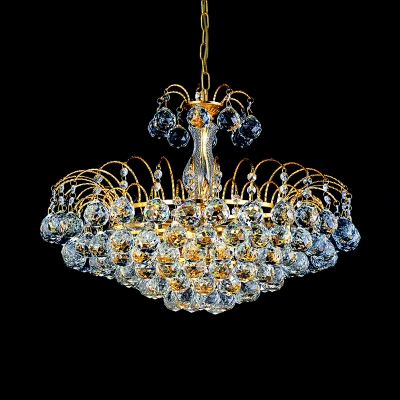 Crystal Ball Cone Chandelier Dining Room Luxurious Style LED Ceiling Pendant in Gold