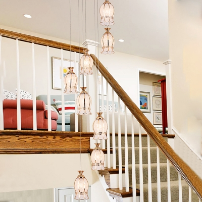 Curving Multi Light Pendant Colonial Bubble Glass 8 Heads Brass Ceiling Lamp for Stair