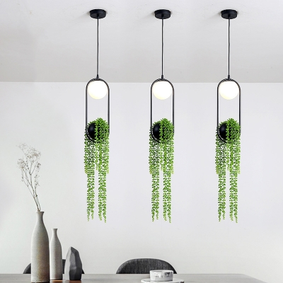 Metal Black Plant Hanging Lamp Ball 1 Light Vintage LED Suspension Pendant for Restaurant