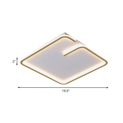 Minimalist Squared Ceiling Mount Fixture Acrylic 16