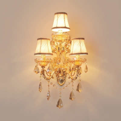 Tapered Shade Restaurant Wall Light with Crystal Metal Three Lights European Style Sconce in Gold