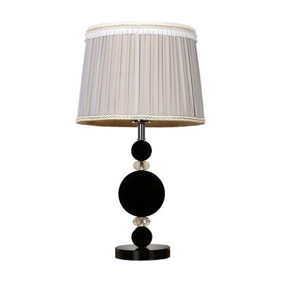 1 Bulb Living Room Desk Lamp Modernist Black Table Light with Barrel Fabric Shade
