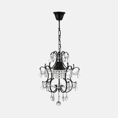 1 Light Curved Mini Chandelier with Crystal Bead Antique Style Metal Pendant Light in Black for Hotel